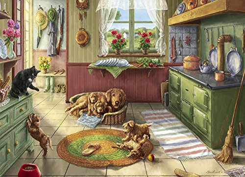(Vermont Christmas Company Golden Puppies Jigsaw Puzzle 1000 Piece )