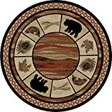 Cheap Dean Vogel Bear Lodge Cabin Bear Carpet Area Rug Size: 5'3″ Round