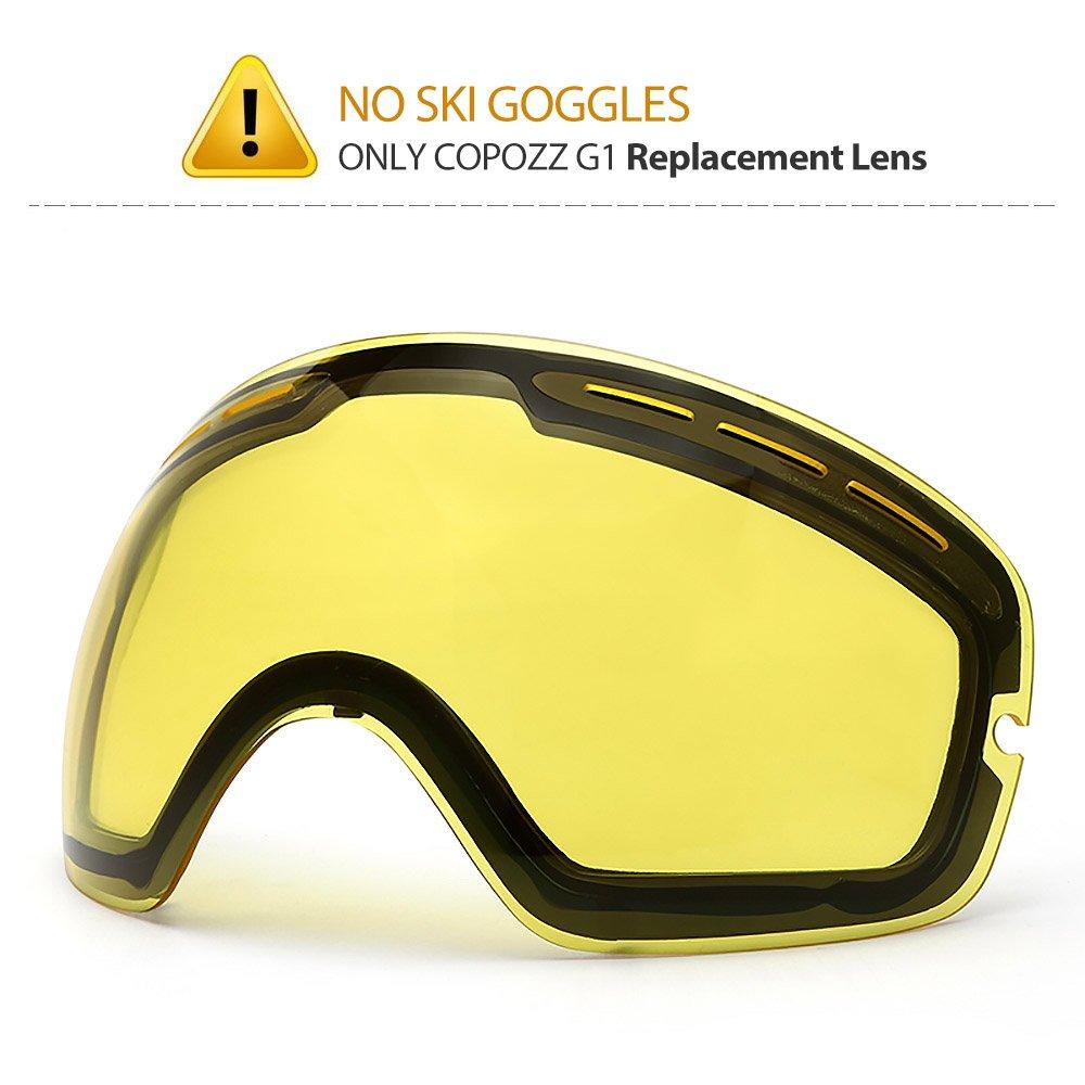COPOZZ Ski Goggles, G1 OTG Snowboard Snow Goggles for Men Women Youth Anti-Fog UV Protection, Polarized Lens Available (G1 Ski Goggles Only Yellow Lens (VLT 60.9%), G1 Ski Goggles Lens) by COPOZZ