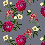 Designer Upholstery, Curtain, Sewing Fabric - Floral Glade, Grey, Gnat Bank Garden Collection - 1 Metre - Designed & Printed in the UK (Choice of Colourway) by Izabela Peters