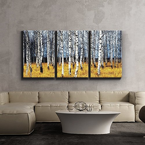 Print Contemporary Art Wall Decor Beautiful Aspen Trees Fall colors Giclee Artwork Gallery ped Wood Stretcher Bars x3 Panels