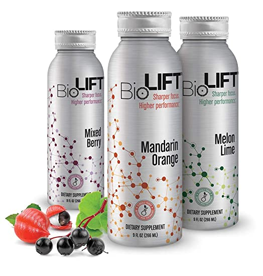 BioLift – Beat the Post-Lunch Dip – Low Glycemic – Natural Caffeine – No Jitters or Crash – Cognitive Focus – Variety 6-Pack