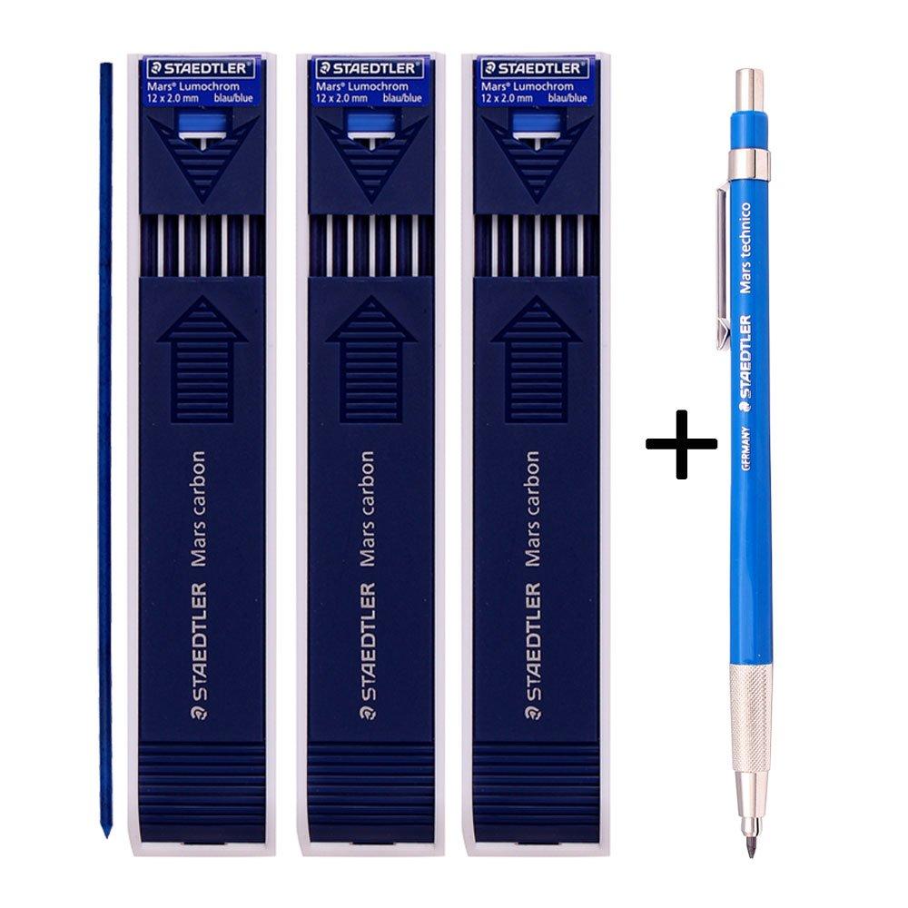 Staedtler Mars Technico 780C Mechanical Lead holder,clutch Pencil Mars Carbon 2mm Drafting Pencil (Lead Holder 1 Pencil +Carbon Leads BLUE 3 Pack)