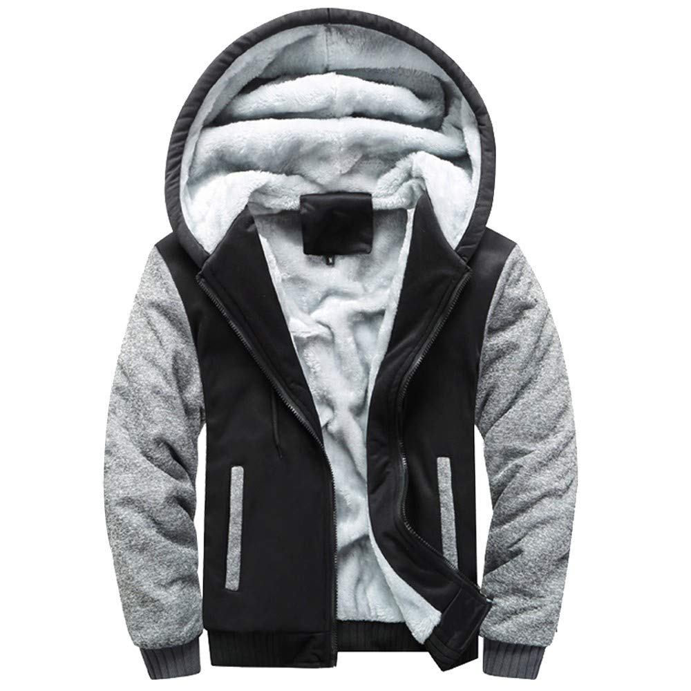 SWPS Men's Hoodies, Male Hoodie Winter Warm Fleece Zipper Sweater Jacket Outwear Coat Tops Blouses