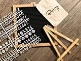 Letter Board- 510 Letters - Changeable, Felt, Numbers, Symbols & Emoji's,10x10 inches, Oak Wood Frame, Wall Mount, Retractable Stand Includes a Free Canvas Bag- Great for Home, Office & Social Media