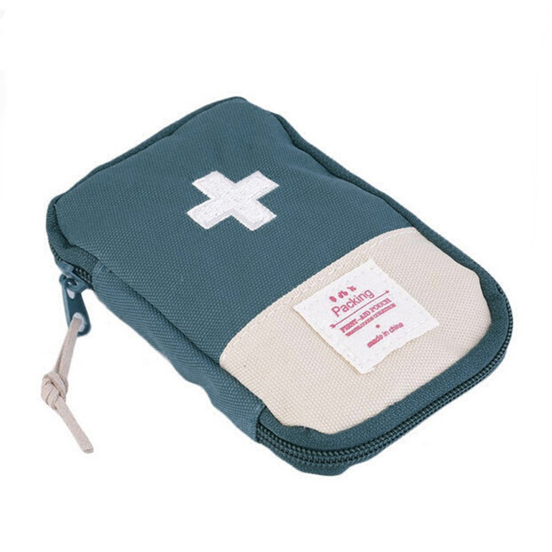Finance Plan Mini Outdoor Camping Travel Response Case Portable First Aid Kit Bag Pill Pouch (Green)