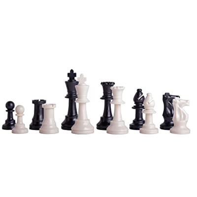 "US Chess Federation's Triple Weighted Tournament Staunton Plastic Chess Pieces - 3.75"" King - Black & White: Toys & Games"