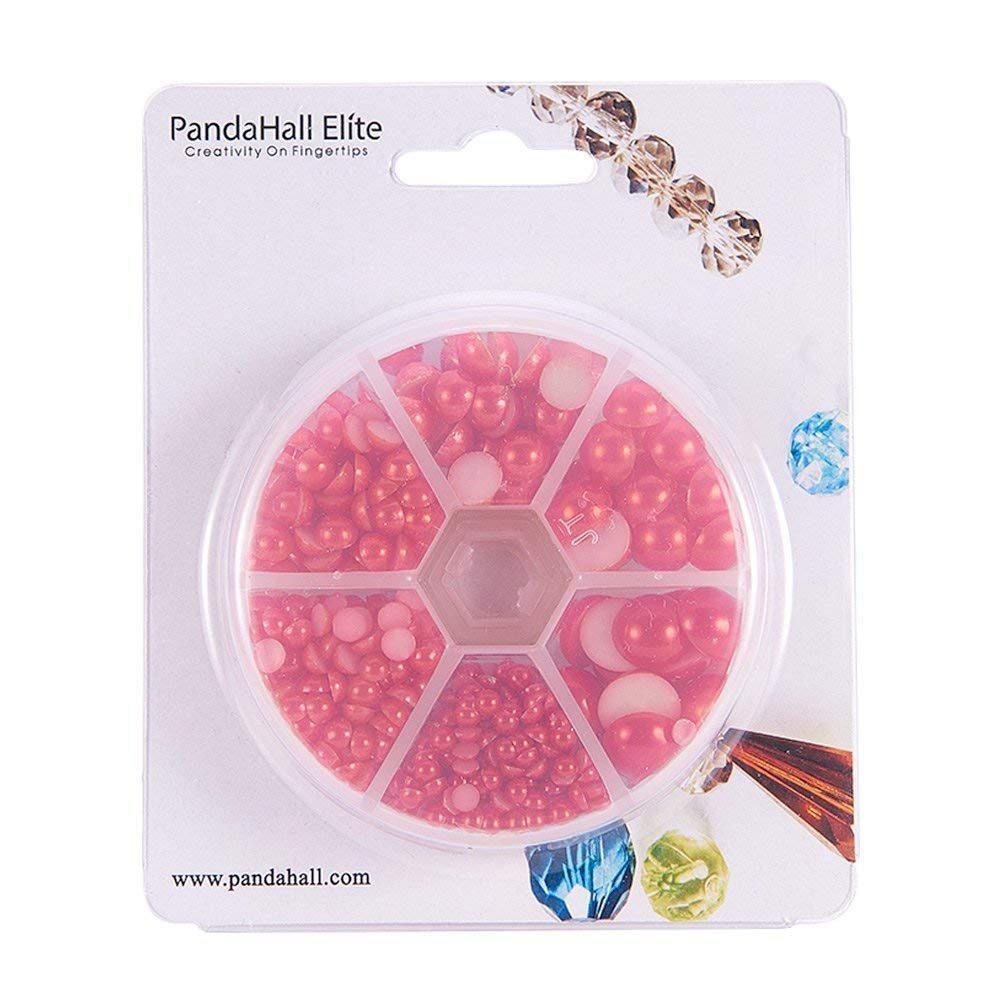 4//5//6//8//10//12mm DIY Half Pearl Bead for Jewelry DIY Craft Making PH PandaHall 690 Pcs 6 Sizes Tan Assorted Flat Back Pearl Cabochons