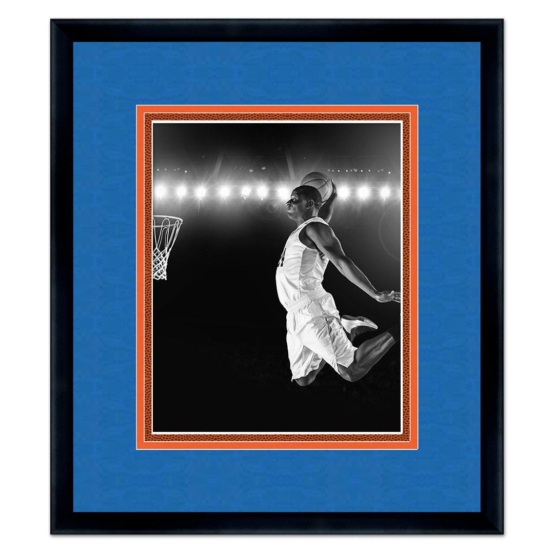Sports Frames New York Knicks ブラック木製写真フレーム - トリプルマット バスケットボールテクスチャ付き For 16