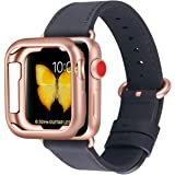 JFdragon Watch Bands with Case Compatible with Apple Watch 38mm 40mm 42mm 44mm Women Men Girls Boys Genuine Leather Strap for