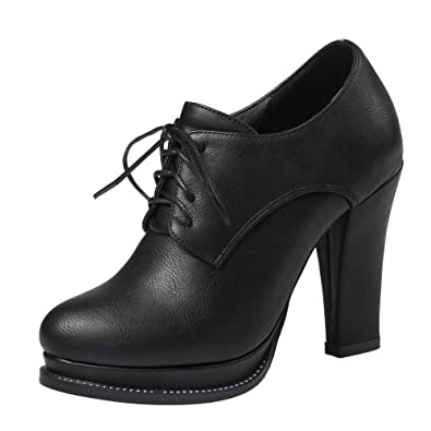 2c01a5881301 Latasa Womens Lace Up Oxford High Heels (4.5