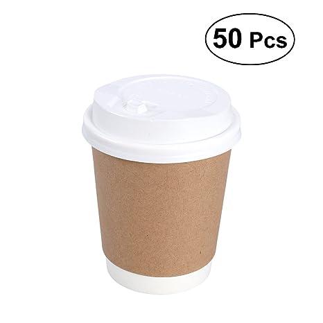 Amazon com: BESTONZON 50pcs 8oz Disposable Kraft Paper Cups