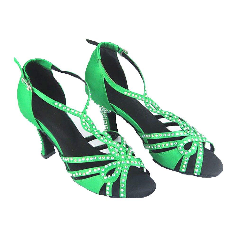 GUOSHIJITUAN Womens Diamante Latin Dance Shoes,Green Satin Soft Bottom High Heel Salsa Dancing Shoes Gb Social Dancing Shoes