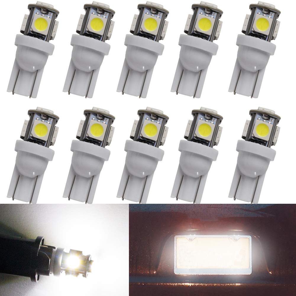 W5W Led Bulbs Canbus Error Free 501 T10 194 168 Wedge Car Sidelight Bulbs Number Plate Interior Dome Dashboard Boot Parking Lights COB 12V White Pack of 2