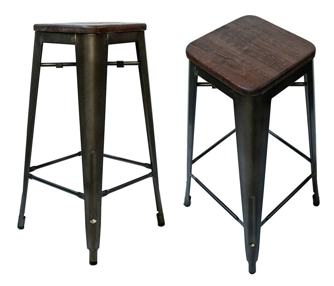 Steampunk Tolix Replica Chairs Set of 2 Bar Stool 30 , Bronze Wood