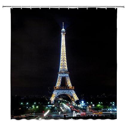 Feierman Night Eiffel Tower Shower Curtain Decor Beautiful Paris Bathroom Machine Washable Mildew Resistant