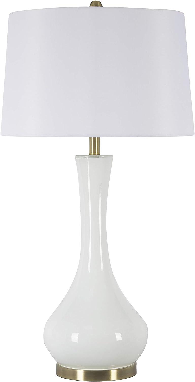 "Sagebrook Home 50143-01 Glass Teardrop Table Lamp, White, 34"""