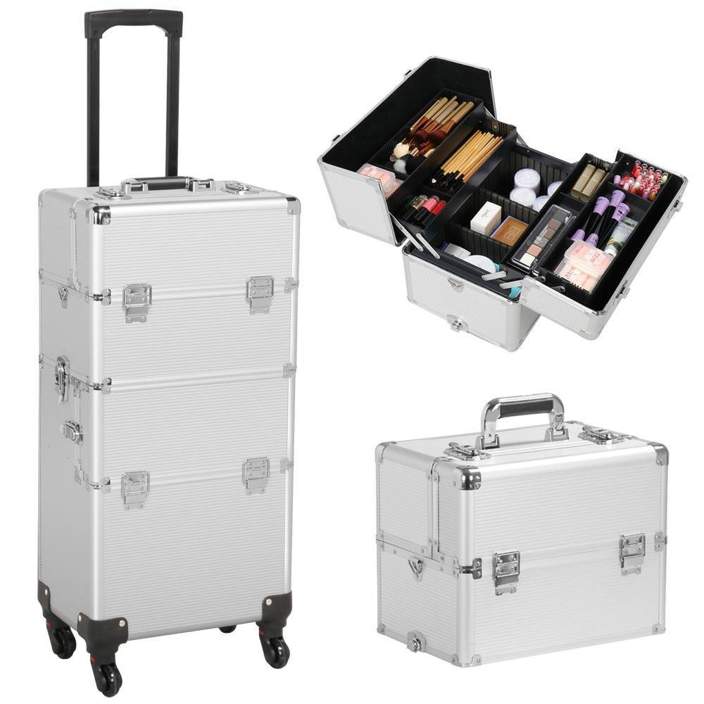 Yaheetech 3 in 1 Professional Aluminum Rolling Makeup Trolley Artist Train Case Cosmetic Organizer Makeup Case(4 Removable Universal Wheels) Silver YA-58