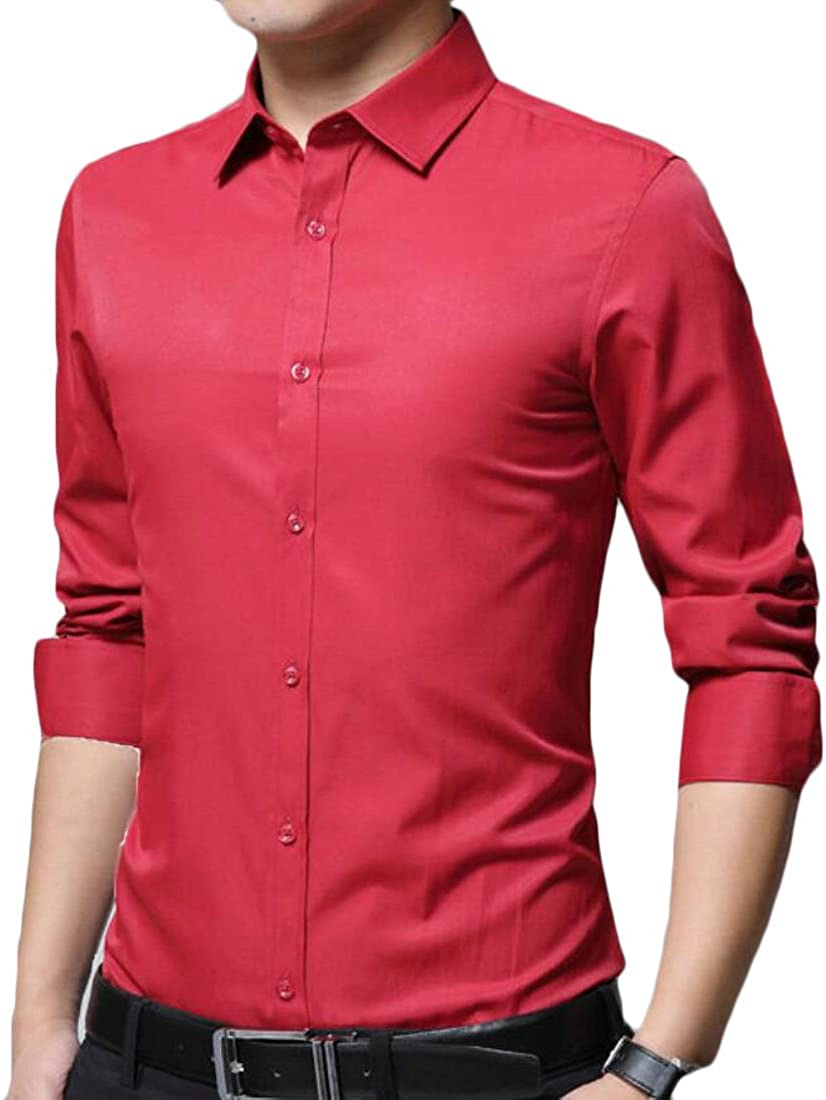 Fubotevic Mens Regular Fit Short Sleeve Color Block Formal Button Up Dress Work Shirt