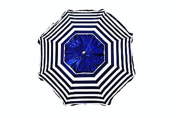 SOMBRILLA DE Aluminio Reforzado Y ANODIZADO DISEÑO Marinera 180 CM DE DIÁMETRO DE Parasol con Espiral para FÁCIL ENROSCADO EN LA Arena: Amazon.es: Jardín