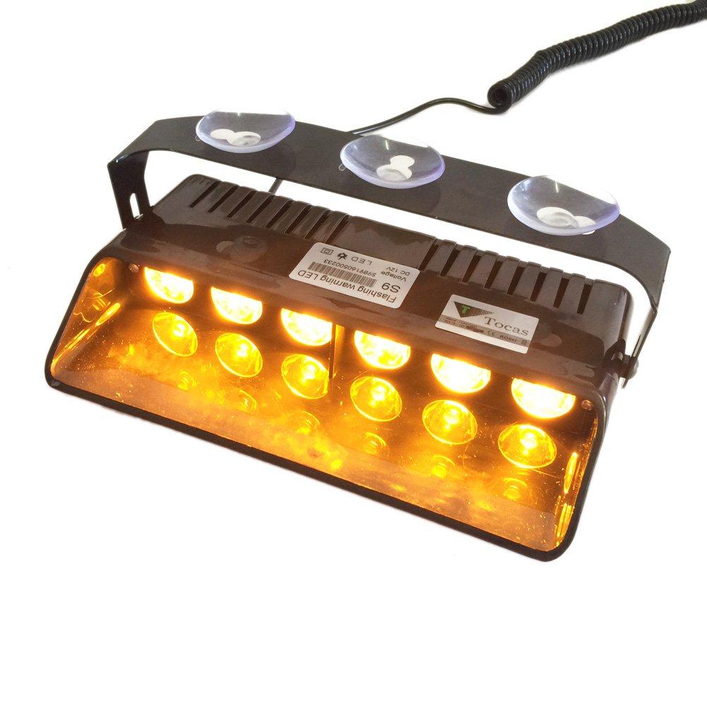 T Tocas 6W 16 Flashing Modes High Intensity LED Car Auto Windshield Emergency Hazard Warning Strobe Lights (Amber) Lula LA-LEL158