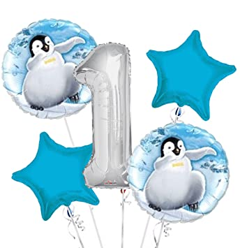 Image Unavailable Not Available For Color Happy Feet Balloon Bouquet 1st Birthday 5 Pcs