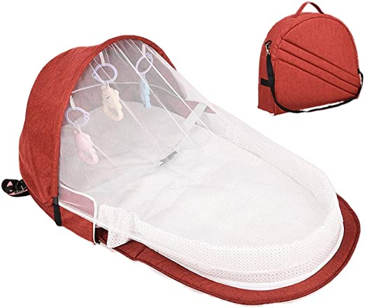 Travel Crib Newborn Cot Bag Changing Station Seat Tummy Time Folding Crib Nursery Forart Baby Lounger Foldable Baby Bed Foldable Travel Bassinet with Toys
