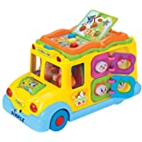 Educational Interactive School Bus Toy with Tons of Flashing Lights, Sounds, Responsive Gears and Knobs to Play with, Tons of