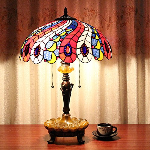 LILAS 16 Inch Phoenix Peacock Tail Feather Vintage Pastoral Luxury European Tiffany Style Table Lamp Desk Lamp Bedside Lamp