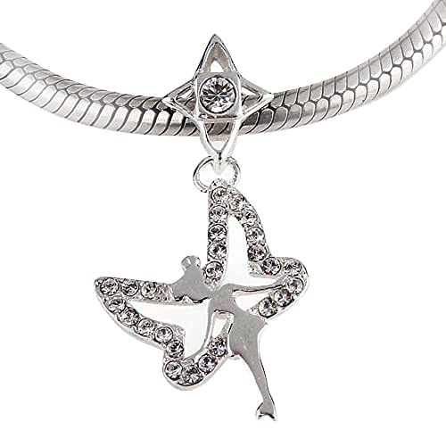 7ae2ec409 Ollia Jewelry 925 Sterling Silver Dangle Beads Tinkerbell Night Elf Fairy  Wielding Her White Wings Charm