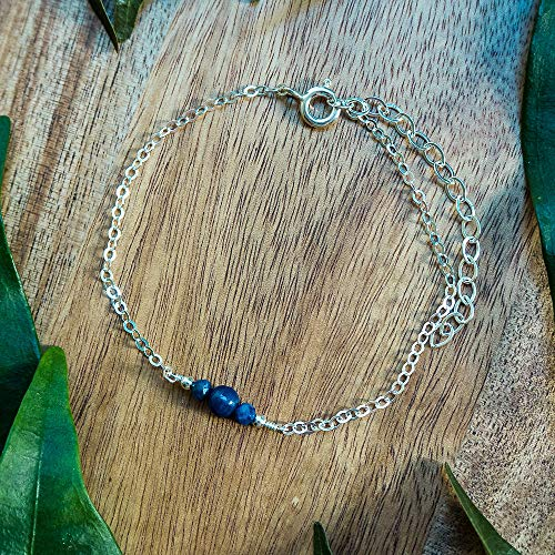 (Dainty crystal lapis lazuli anklet in 925 sterling silver - 8
