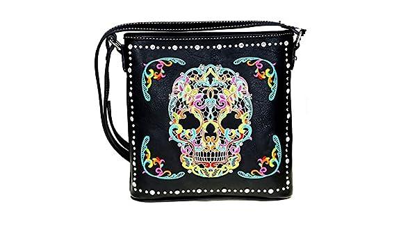 1328eca65a8d Amazon.com  MW494G-8287 Montana West Sugar Skull Concealed Carry Bag Cross  Body Handbag (Black Multi)  Shoes