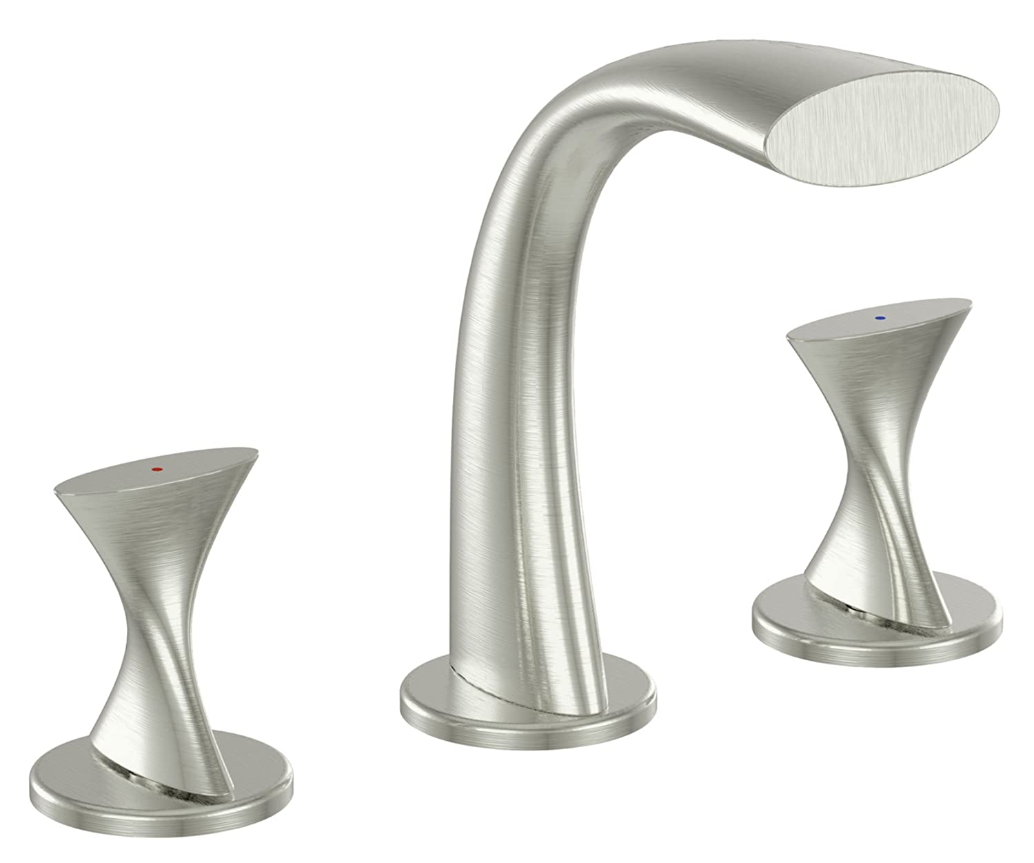 Ultra Faucets UF55513 Twist Collection Two Handle Widespread Bathroom Sink  Faucet, Brushed Nickel   Touch On Bathroom Sink Faucets   Amazon.com