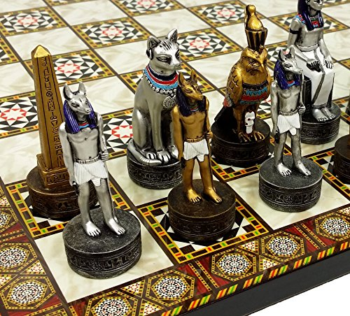 Egyptian Chess - HPL Egyptian Anubis Chess Set Gold & Silver Painted Men W/ 14 1/2