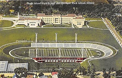Rock Island High School Stadium Illinois IL USA Old Vintage