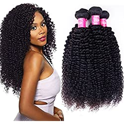 Brazilian Virgin Curly Hair 4 Bundles (20 22 24 26,400g) 10A Unprocessed Brazilian Kinkys Curly Hair Grace Length Remy Human Hair Weave Extension Natural Black Color Brazilian Kinky Curly