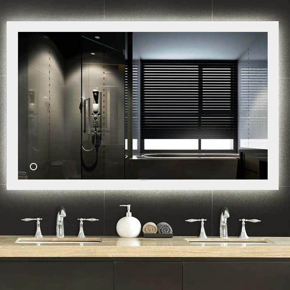 Turefans Miroir de Salle de Bain,Miroir LED, Interrupteur Tactile +  Anti-buée + 17LED (17 x 17 cm)
