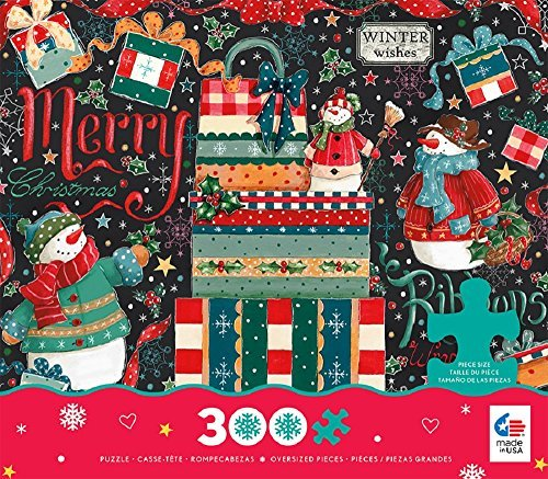 Ceaco Holiday Chalk - Snowman Gifts - OverDimensioned Holiday Puzzle (300 Piece) by Ceaco