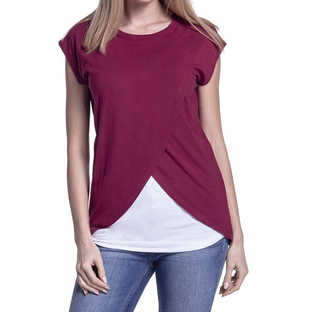 Rosiest Pregnants Maternity T-Shirt, Women's Maternity Nursing Wrap Top Cap Sleeves Double Layer Blouse T Shirt (Wine Red, M)