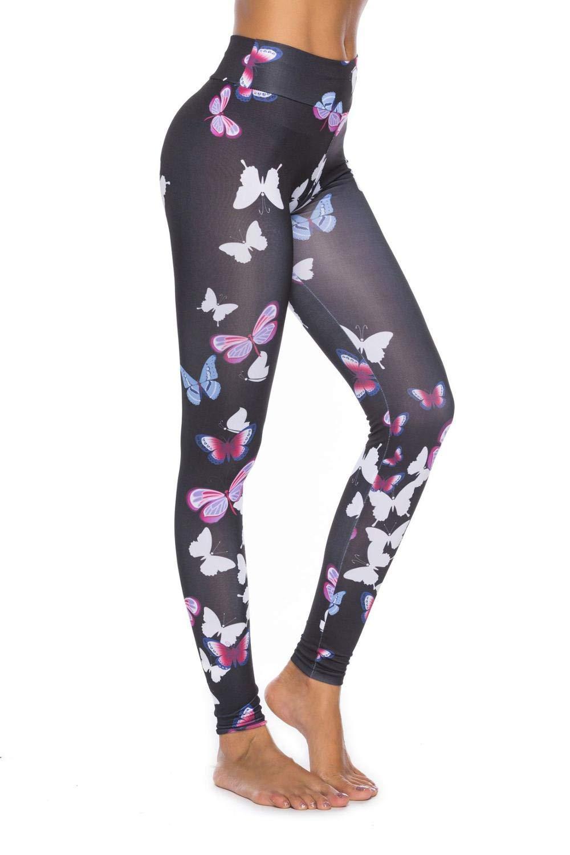 MAOYYMYJK Sexy Push Up Printed Hosen Für Frauen Casual Schmetterlinge Digital Print Workout Jeggings Schwarz Hohe Taille Hosen Leggings Weiblich