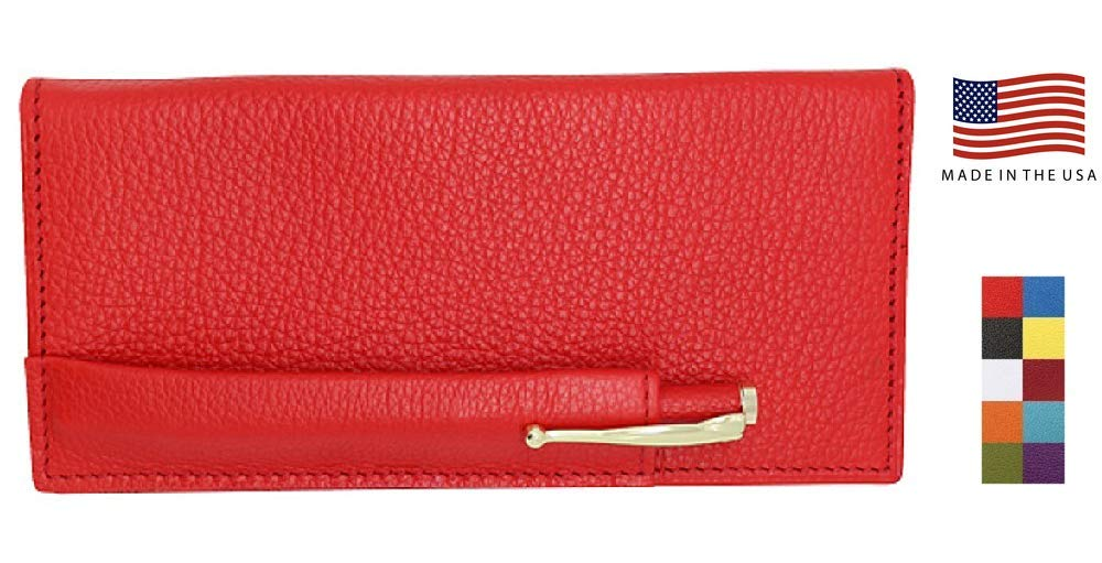 Red Genuine Leather Colorado Collection Checkbook Cover with Matching Leather Hand-wrapped Gold Pen – American Factory Direct – Made in USA by Real Leather Creations FBA645