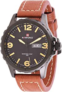 Naviforce Men's Black Dial Leather Band Watch - NF9039