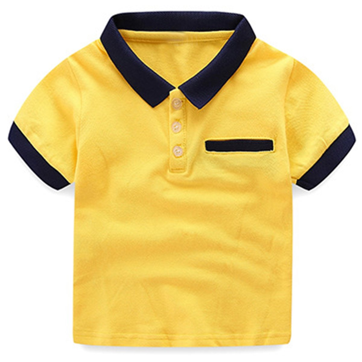 Gfsoediden Cotton Short Sleeve Solid Polo Front Pocket T Shirt for Boys