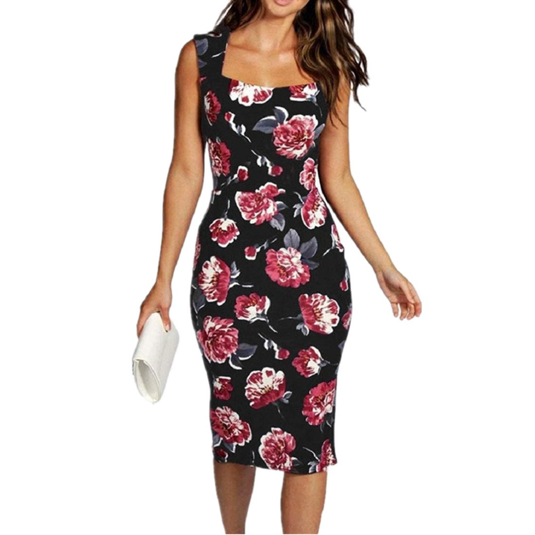 GONKOMA Women Summer Floral Slim Dress Bodycon Lady Floral Printed Party Dress XWJ520