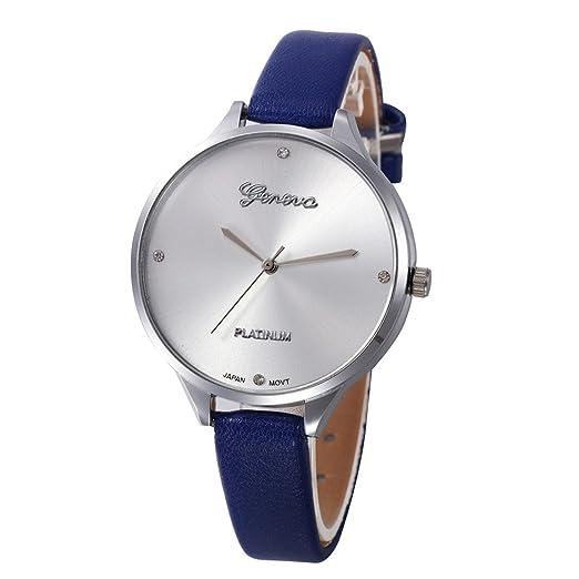 Relojes Analogicos Damas Casuales Damas De Cuero De Imitación De Cuarzo Analógico Reloj De Pulsera BU: Amazon.es: Relojes