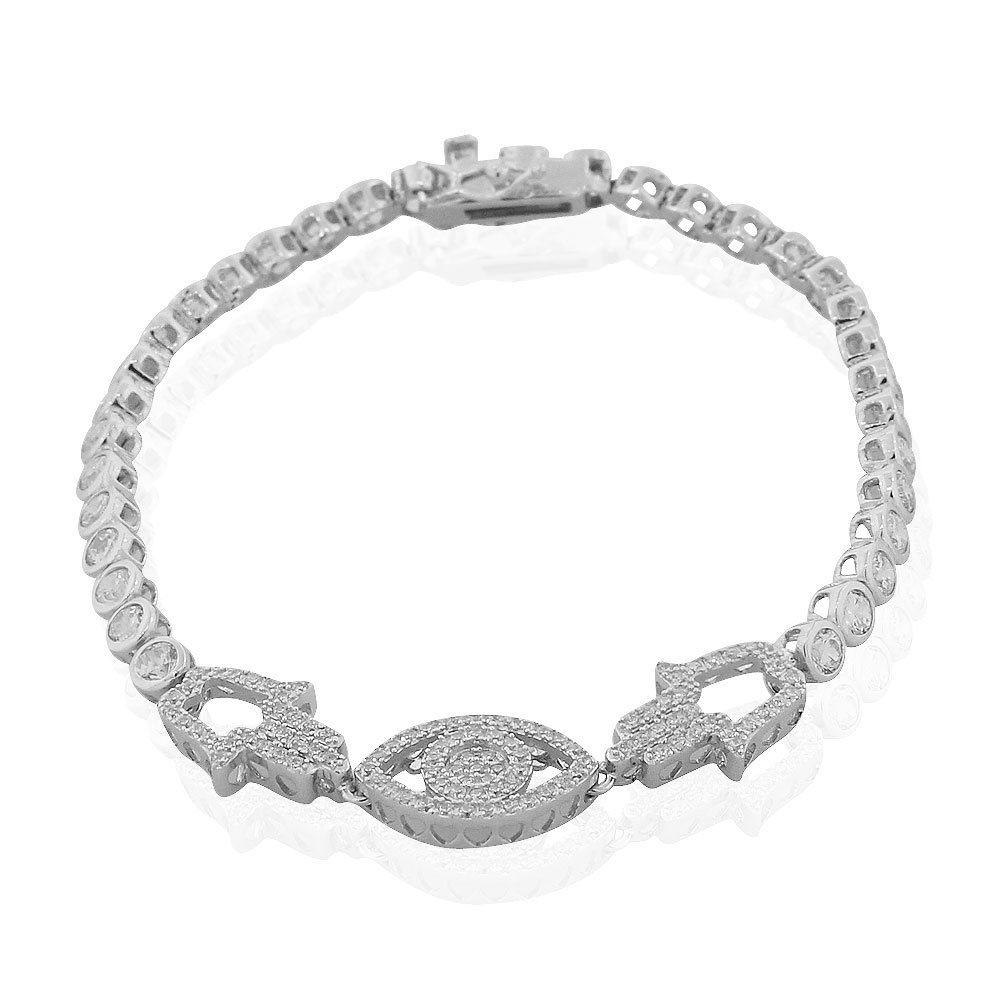 925 Sterling Silver White Bezel-Set CZ Hamsa Evil Eye Protection Tennis Bracelet, 7.25''