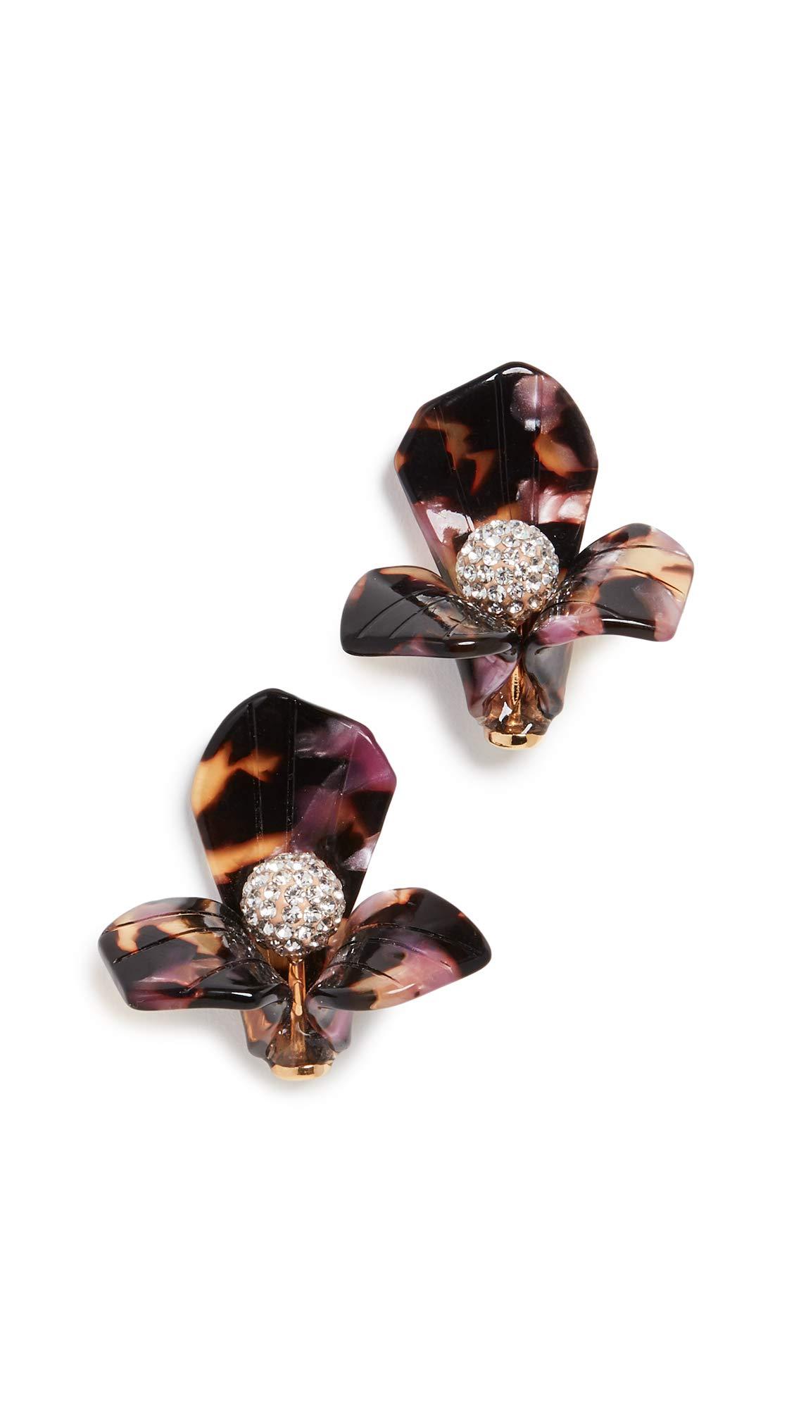 Lele Sadoughi Women's Trillium Stud Earrings, Rose Tortoise, Pink, Tan, Print, One Size