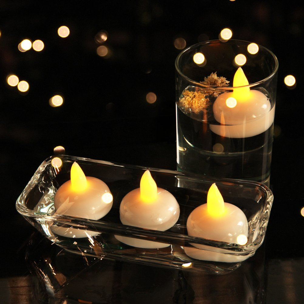 Homemory 24PCS Waterproof Floating Tealights LED Flameless Flickering Tealight Candles Battery Operated for Wedding, Party, Bathroom, Pool, SPA - Amber Yellow by Homemory (Image #4)