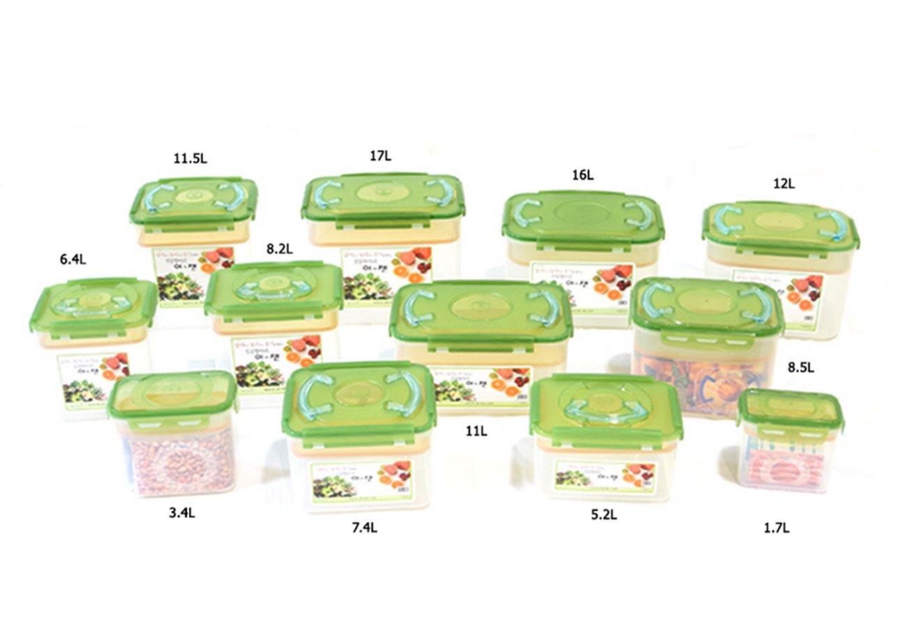 E-Jen Premium Kimchi, Sauerkraut Container Probiotic Fermentation with Inner Vacuum Lid (Earthenware Green, 4.4 gal/ 17L)