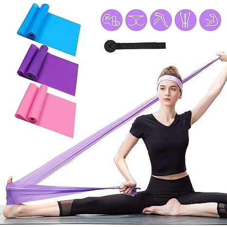 Bandas Elasticas Fitness 3 Piezas Resistencia Bandas de Ejercicios para Yoga, Pilates, Crossfit, Estiramientos, Fisioterapia, Entrenamiento de fuerza, ...